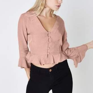 River Island Womens Petite pink textured polka dot frill blouse