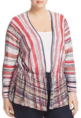 Nic+Zoe Plus Plus Painted Desert Striped Tie-Front Cardigan
