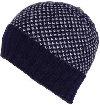 Black Navy and Grey Chevron Cashmere Beanie Hat ba6df4173aaf