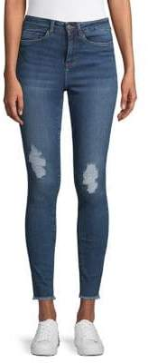 Noisy May Lexi Distressed High-Waist Skinny Jeans