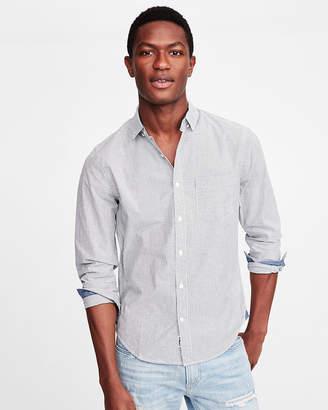 Express Slim Soft Wash Striped Button-Down Shirt