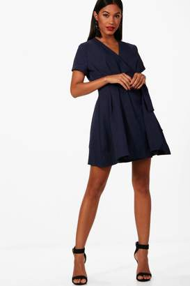 boohoo Woven Pleated Wrap Skater Dress
