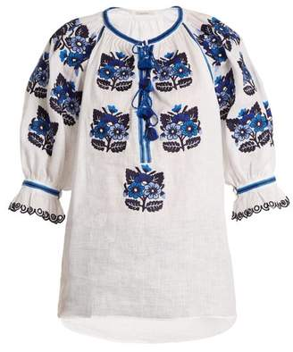 Vita Kin - Bulgaria Embroidered Mid Weight Linen Blouse - Womens - Blue White