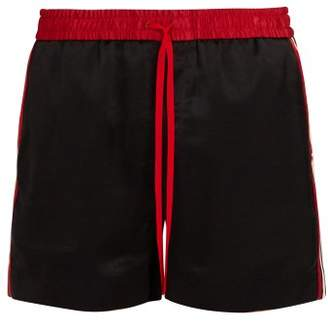 Gucci Logo Ribbon Satin Shorts - Mens - Black