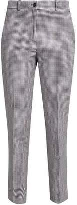 Michael Kors Cropped Gingham Cotton-Blend Tapered Pants