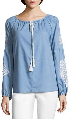 John Paul Richard JOHNPAULRICHARD Embroidered Sleeve Tassel Peasant Top