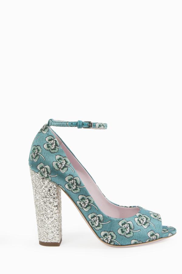 Giamba Floral Brocade Mary Jane Heels