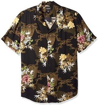 GUESS Men's Short Sleeve Kimono Print Shirt