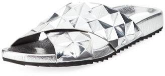 Rebecca Minkoff Tammi Studded Slide Flat Sandal, Silver $110 thestylecure.com