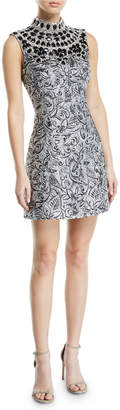 Michael Kors Mock-Neck Metallic Brocade Embellished-Bib Shift Dress