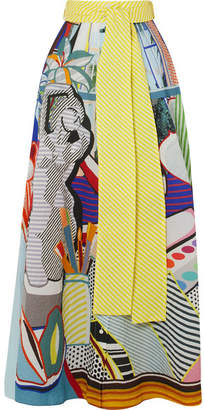 Mary Katrantzou Camilla Belted Printed Seersucker Maxi Skirt - Light blue