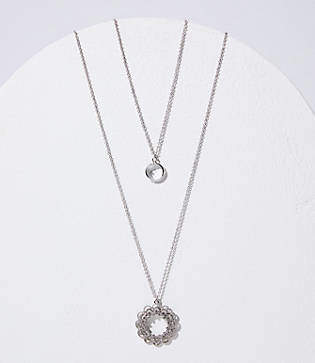 LOFT Layered Crystal Filigree Pendant Necklace