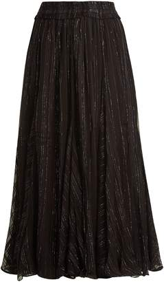 DODO BAR OR Jamie ruffle-trimmed striped chiffon skirt