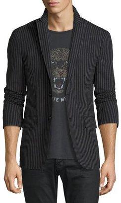 John Varvatos Star USA Two-Button Peak-Lapel Striped Jacket, Asphalt Gray $398 thestylecure.com