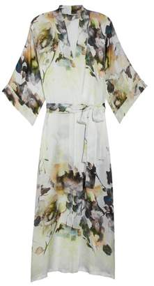 Christine Lingerie Floral Print Silk Robe