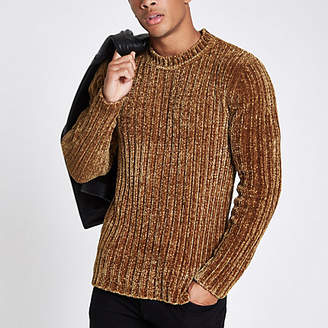 River Island Green muscle fit chenille knit sweater