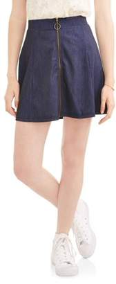 No Comment Juniors' Knit Denim Skater Skirt with Metal Zipper