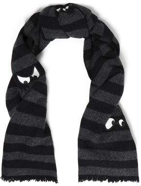 McQ Appliquéd Striped Wool Scarf