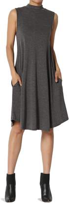 TheMogan Women's Sleeveless Mock Neck Jersey Pocket Fit & Flare Dress Charcoal L