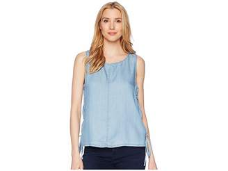 Vince Camuto Sleeveless Shirting Tencel Blouse with Lace-Up Sides Women's Blouse