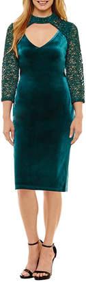 BLU SAGE Blu Sage 3/4 Sleeve Party Dress - Petites