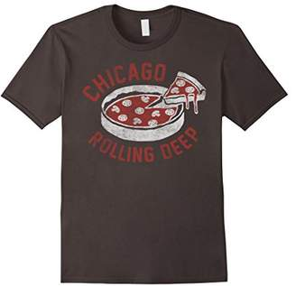 Chicago Rolling Deep Dish Pizza Vintage Graphic T-Shirt
