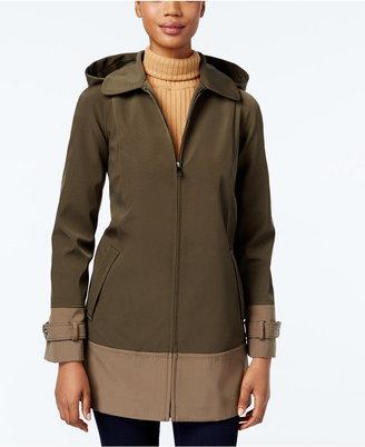 Jones New York Colorblocked Hooded Water-Resistant Raincoat $200 thestylecure.com