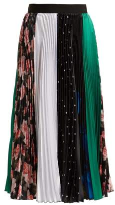 MSGM Contrast Pleated Midi Skirt - Womens - Black Multi