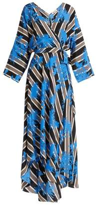 Diane von Furstenberg Eloise Silk Jersey Midi Dress - Womens - Black Blue