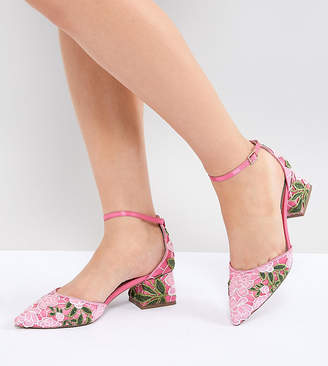 Shakira ASOS DESIGN Wide Fit Embroidered Mid Heels