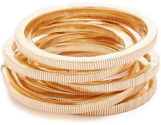 Kenneth Jay Lane Polished Gold 8 Stack Bracelet $100 thestylecure.com