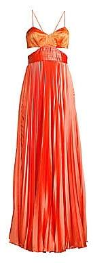 AMUR Women's Elodie Pleated Cut-Out Gown