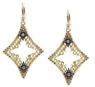 Armenta Old World Sterling Silver & 18K Yellow Gold Pave Diamond Open Diamond Shape Drop Earrings - 0.37 ctw