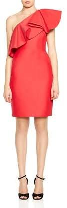 Halston Ruffled One-Shoulder Dress