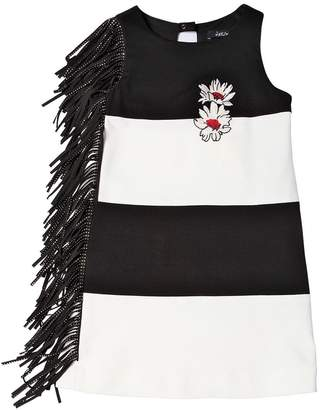 Striped Milano Jersey Dress W/ Fringe