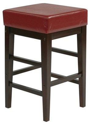"""Office Star OSP Designs by Products 25"""" Square Red Faux Leather Barstool with Espresso Legs"""