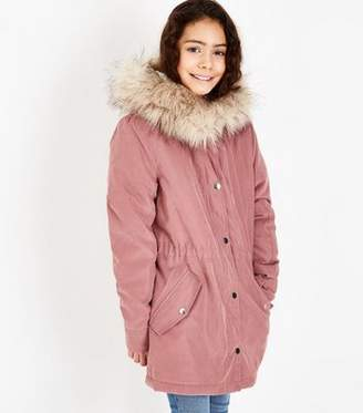 New Look Girls Mid Pink Faux Fur Trim Hooded Parka