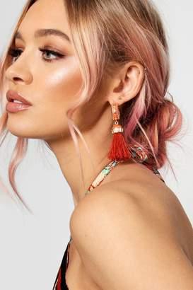 boohoo Millie Enamelled Hoop And Tassel Earrings