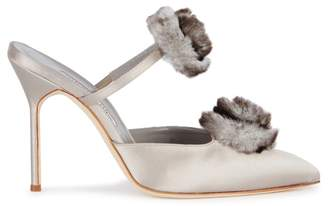 Manolo Blahnik Crespony Fur-trimmed Satin Mules