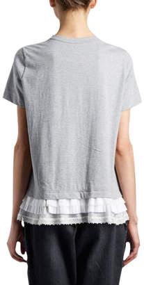 Sacai Short-Sleeve Crewneck Cotton Tee w/ Lace Ruffle Hem