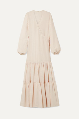 BEIGE MATIN - Tiered Cotton And Linen-blend Voile Wrap Maxi Dress