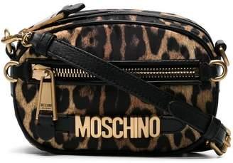 Moschino brown logo plaque leopard print cross body bag