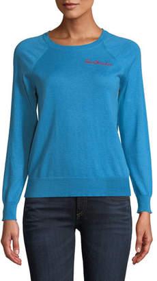 Replica Los Angeles Heartbreak-Embroidered Crewneck Raglan Cashmere-Cotton Sweater