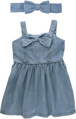 RuffleButts Cotton Chambray Dress & Head Wrap Set