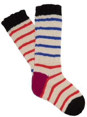La Fetiche - Hockney Striped Wool Socks - Womens - Blue Stripe