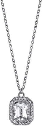 "2028 Silver-Tone Crystal Octagon Pendant Necklace 16"" Adjustable"