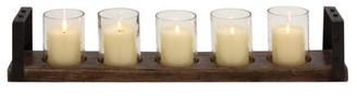 Benzara Classy Wood Metal Glass Candle Holder, Walnut, Black