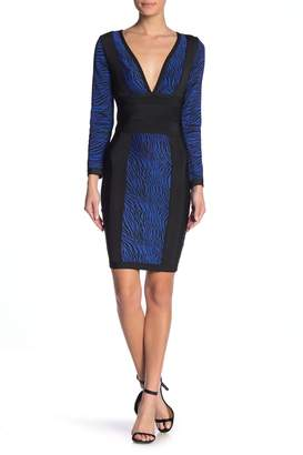 Wow Couture Zebra Printed Bandage Long Sleeve Dress
