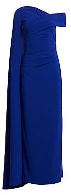 Talbot Runhof Women's Off-The-Shoulder Cape Gown
