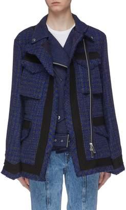 Sacai Layered flap pocket herringbone tweed biker jacket